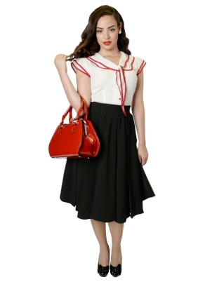 Alison Swing Skirt Black FrontW