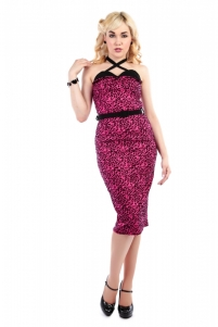 Ginger Leopard Print Flock Pencil Dress